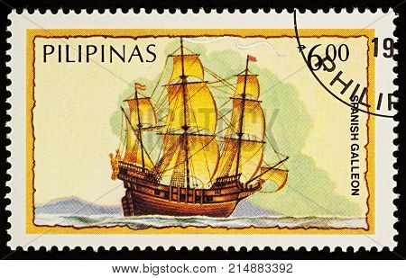 Moscow Russia - November 21 2017: A stamp printed in Philippines shows three-masted sailing ship - Spanish galleon series