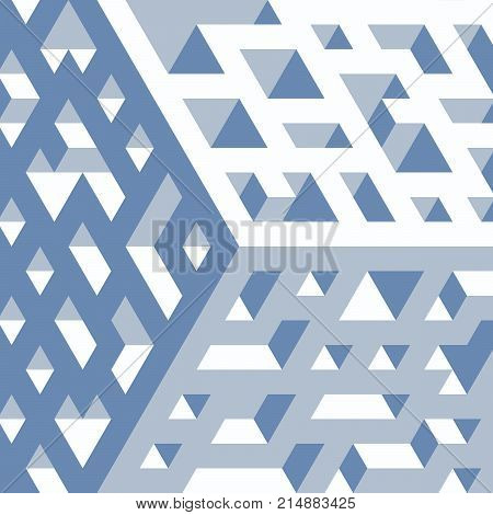Abstract isometric background of geometric shapes. Three-dimensional forms. Surface with holes.
