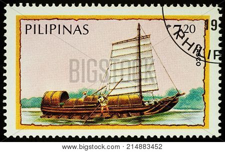 Moscow Russia - November 21 2017: A stamp printed in Philippines shows Philippine boat casco series