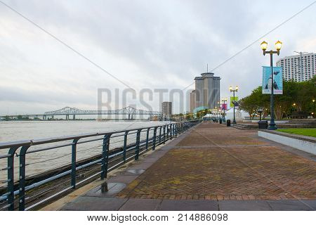NEW ORLEANS - MAY. 31, 2017: Crescent City Connection, World Trade Center and Waterfront Park in New Orleans, Louisiana, USA. The Bridge is formerly called the Greater New Orleans Bridge, cross the Mississippi River in downtown New Orleans.