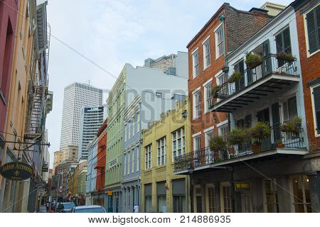 NEW ORLEANS - MAY. 31, 2017: Historic Buildings on Chartres Street between Iberville Street and Bienville Street in French Quarter in New Orleans, Louisiana, USA.