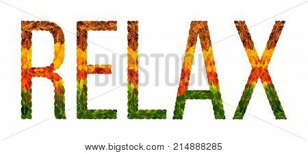 relax word is written with leaves white isolated background