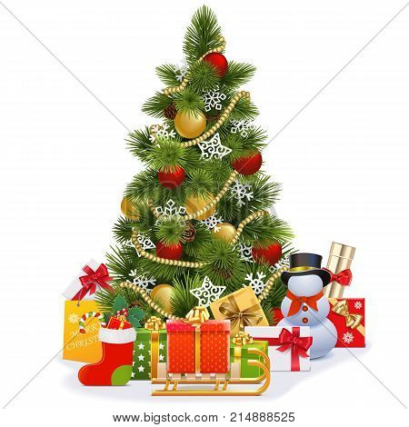 Vector Christmas Tree with Sledge isolated on white background