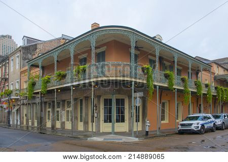 NEW ORLEANS - MAY. 31, 2017: Historic Buildings at the corner of Chartres Street and Conti Street in French Quarter in New Orleans, Louisiana, USA.