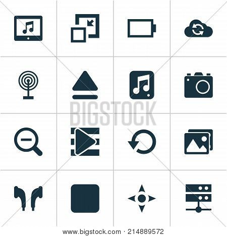 Media Icons Set With Camera, Headphone, Arrow And Other Decrease Elements. Isolated Vector Illustration Media Icons.