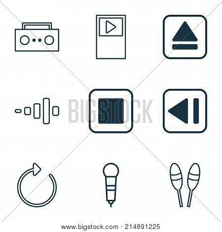 Music Icons Set With Stop Button, Microphone, Beat Instrument And Other Beat Instrument Elements. Isolated Vector Illustration Music Icons.