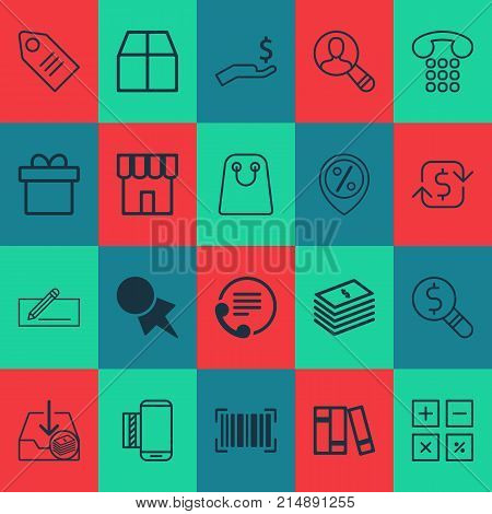 E-Commerce Icons Set With Bookshelf, Ticket, Callcentre And Other Dollar Banknote Elements. Isolated Vector Illustration E-Commerce Icons.