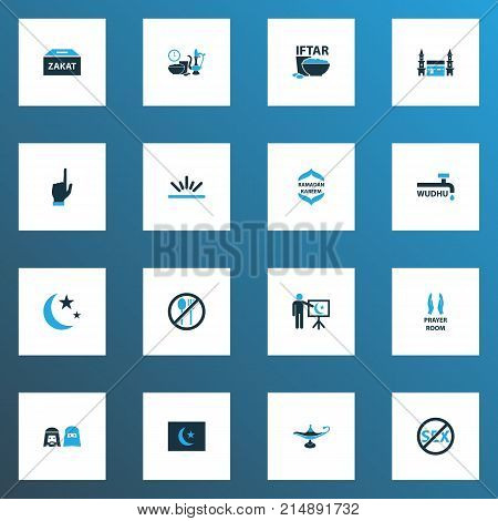 Religion Colorful Icons Set With Sunlight, Mussulmans, Forbidden Meal And Other Bowl Elements. Isolated Vector Illustration Religion Icons.