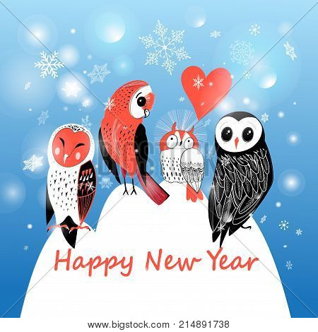 Festive winter postcard with owls on blue background with snowflakes