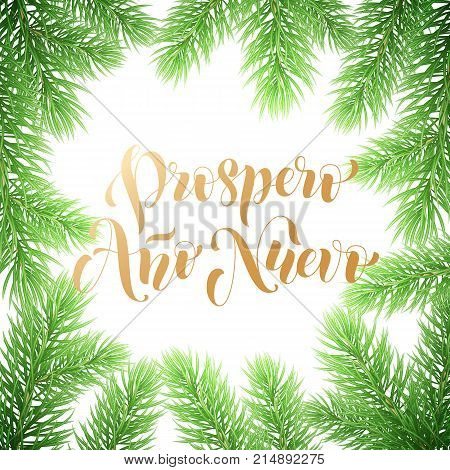 Prospero Ano Nuevo Spanish Happy New Year Golden Calligraphy Hand Drawn Text On Wreath Ornament For