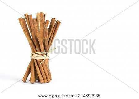A fragrant spice. Cinnamon on a white background with soft shadow. Dried wood bark on isolated with copy space. Cinnamon in long sticks. The cinnamon is vertical.