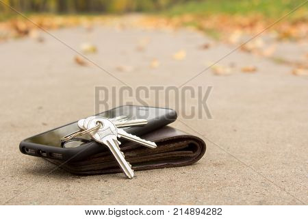 On the road lie the lost phone keys and wallet. Copy space for text
