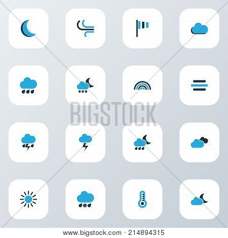Weather Colorful Icons Set With Night, Cold Weather, Cloudy Sky And Other Lightning Elements. Isolated Vector Illustration Weather Icons.