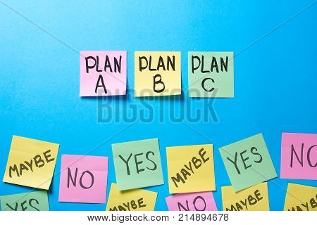 What is the probability of operation of the plan? Plan a b c on office stickers and the words yes no maybe