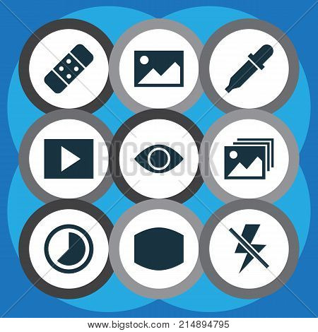 Picture Icons Set With Multimedia, Monitor, Picture And Other Pipette Elements. Isolated Vector Illustration Picture Icons.