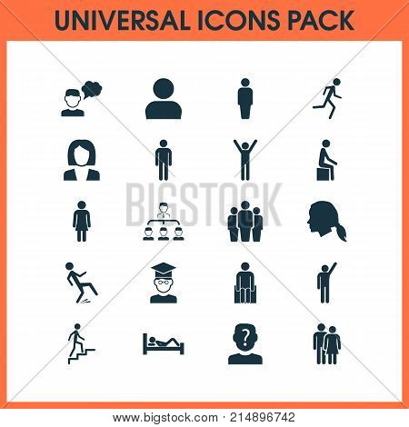 Person Icons Set With Member, Beloveds, Happy And Other Raised Hand Elements. Isolated Vector Illustration Person Icons.