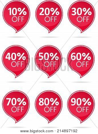 Special offer sale red tag isolated vector illustration. Discount offer price label symbol for advertising campaign in retail sale promo marketing 50 percent off discount sticker ad offer on shopping day. Sale icons. Sale tags. 10 percent off discount sti