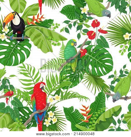 Seamless pattern made with tropical birds leaves and flowers on white background. Colorful parrots and toucan sitting on branches. Tropic rainforest foliage texture. Vector flat illustration.
