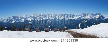 Sunbeds At Wank Mountain With Lookout To Zugspitze Area