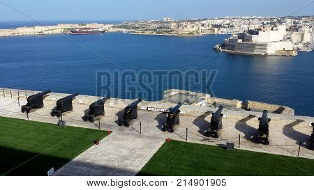 Valletta, Malta, March 23, 2015: Grand Harbor in Malta - a view from the gun battery in Valletta Malta