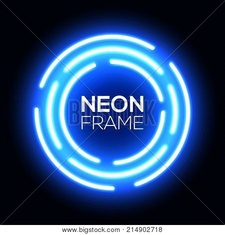 Blue neon light circles. Shining round techno frame. Night club electric bright 3d circuit banner design on dark blue backdrop. Neon abstract circle background with glow Technology vector illustration
