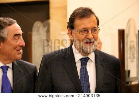 Mariano Rajoy in first appearance in Catalonia as president of Spanish government after the application of the article 155 of Spanish constitution that suspended Catalonia's autonomy
