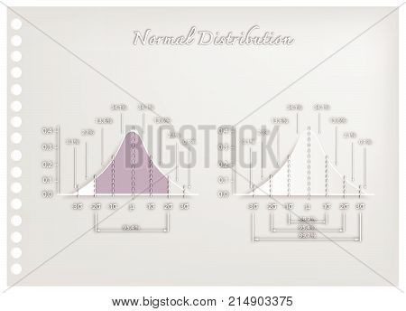 Business and Marketing Concepts, Illustration Paper Art Craft Collection of Gaussian Bell Curve Diagrams or Normal Distribution Curves Used in The Natural Sciences, Social Sciences and Business.