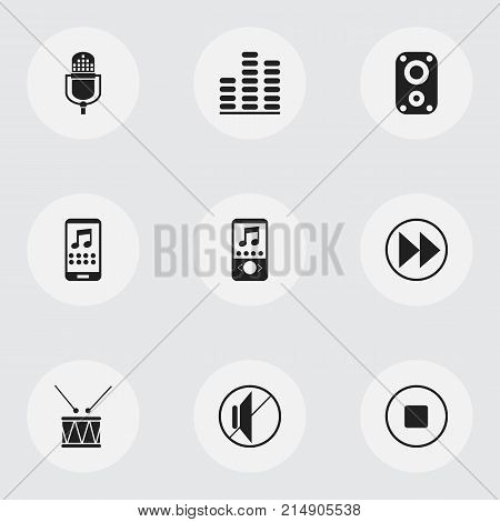 Set Of 9 Editable Audio Icons. Includes Symbols Such As Break Music, Rewind, Silent And More
