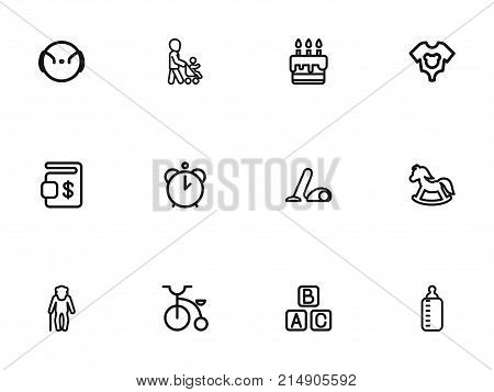 Set Of 12 Editable Family Outline Icons. Includes Symbols Such As Grandpa, Pony, Velocipede