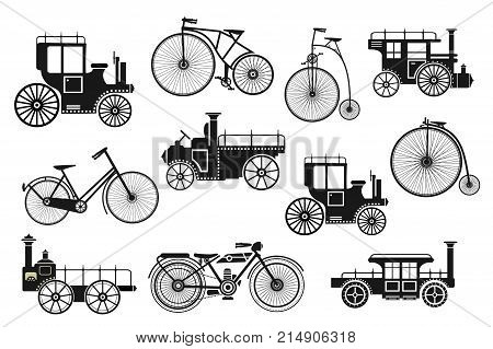 Retro motorcycle bike and cars silhouettes set