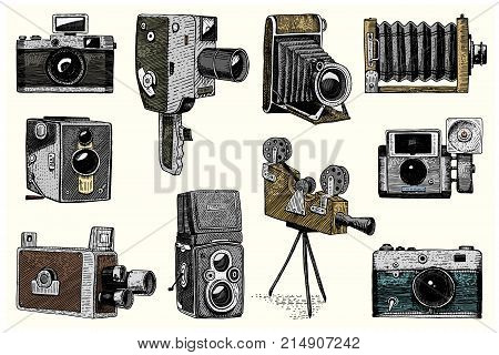 photo logo emblem or label, video, film, movie camera from first till now vintage, engraved hand drawn in sketch or wood cut style, old looking retro lens, isolated vector realistic illustration