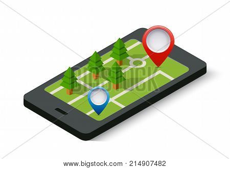 Isometric 3D navigation sign and pin symbol on mobile phone city urban map indicating the location and direction