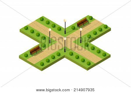 Isometric metropolis city park with streets and trees. Urban landscape top view