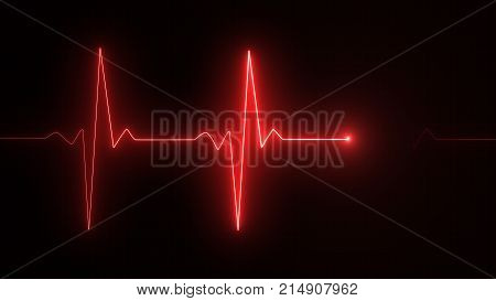 Cardiogram Cardiograph Oscilloscope Screen Red Illustration Background