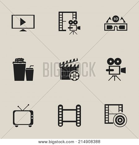 Set Of 9 Editable Cinema Icons. Includes Symbols Such As Telly, Movie Strip, Movie Action And More