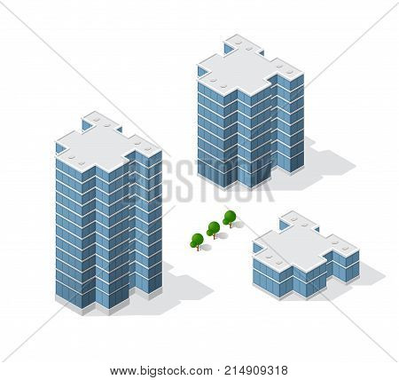 Isometric 3D dimensional skyscraper building of modern architecture of urban construction. Drawing map engineering design landscape top view