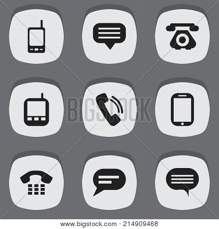 Set Of 9 Editable Gadget Icons. Includes Symbols Such As Transceiver, Radio Talkie, Chat And More