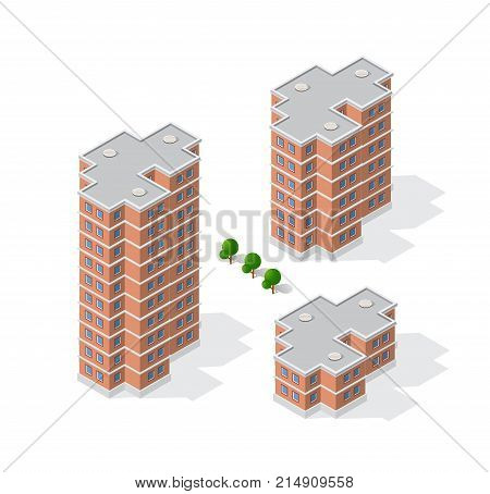 Isometric 3D dimensional building of modern architecture of urban construction. Drawing map engineering design landscape top view