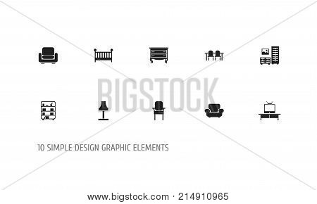 Set Of 10 Editable Interior Icons. Includes Symbols Such As Stool, Settee, Child Cot And More