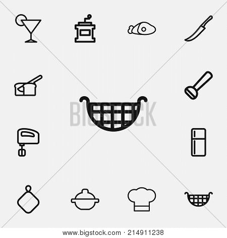 Set Of 12 Editable Cook Outline Icons. Includes Symbols Such As Beef, Potato Peeler, Coffee Mill And More