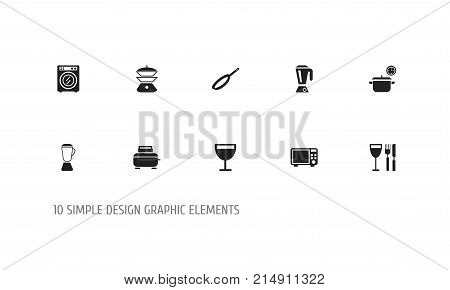 Set Of 10 Editable Cook Icons. Includes Symbols Such As Saucepan, Wineglass, Skillet And More