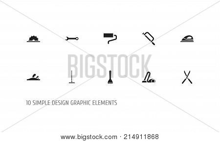 Set Of 10 Editable Tools Icons. Includes Symbols Such As Sawblade, Sweeper, Potato Peeler And More