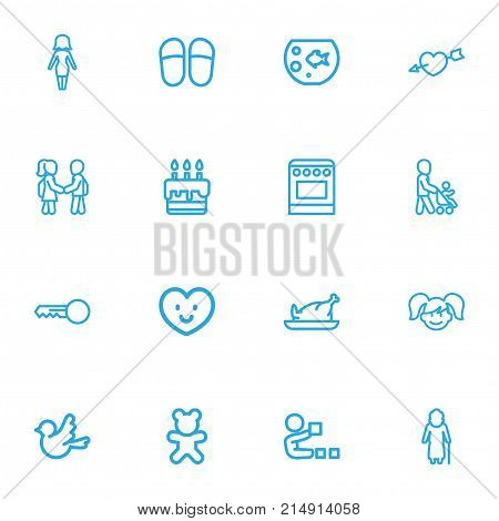 Set Of 16 Editable Kin Outline Icons. Includes Symbols Such As Playing, Doll, Heart And More