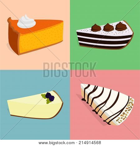 Homemade organic pie dessert vector illustration fresh golden rustic gourmet bakery. Traditional slice crust delicious. Seasonal tasty warm baked
