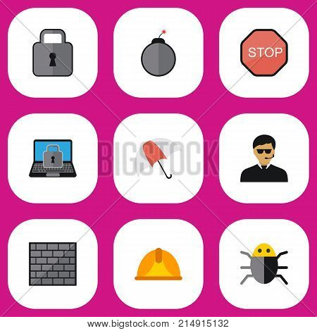 Set Of 9 Editable Procuring Flat Icons. Includes Symbols Such As Hardhat, Close, Dynamite And More