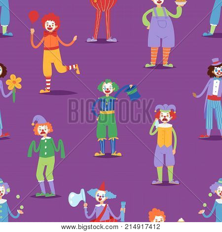 Cartoon clown character funny circus man clownery colorful friendly costume male clownish artist vector illustration. Comic joker face comedian performer carnival seamless pattern background