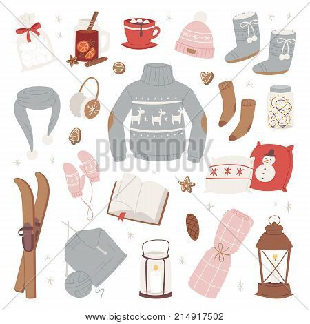 Vector winter clothes warm set of hat, scarf, sweater, gloves fashion clothing style sweater design clothing wintertime collection isolated on white background.