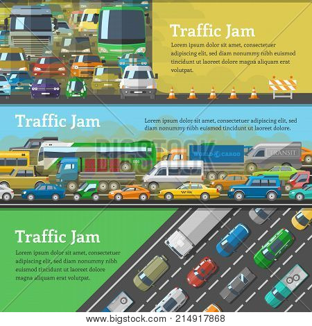 Traffic road jam vector transportation problems illustration at night and day city transport urban vehicle traffic-jam highway auto car on roads pollution and stress.