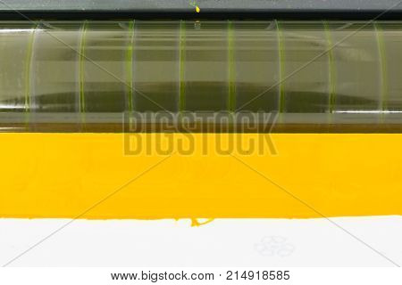 Offset Color Rollers Cmyk Print Machine Closeup Detail Industrial Equipment Pure Yellow