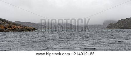 Fog and Mist on Barren Islands in the High Arctic on the Lower Savage Islands along Baffin Island in Nunavut Canada